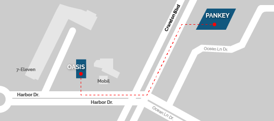 Map showing route from Pankey to Oasis Cafe